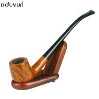 Cheap Wholesale-Douyun smoking pipe briar long design long tobacco pipe Bent Type Smooth Face