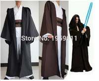 adult black hooded robe - Anime Star Wars Costume Unisex Adult Hooded Robe Jedi Kinight Cosplay Black Brown Cloak Cape for Men S XL