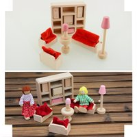 Wholesale Wooden Doll Livingroom Furniture Sofa TV Dollhouse Miniature Set For Kids Toy