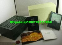 Wholesale Rectangle green box for watches booklet card tags and papers in english