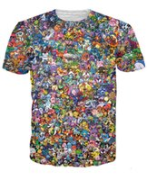 Wholesale Pok mon Go Pikachu Eevee Collage D T shirt Man Woman Short sleeved T shirt Funny T shirts Plus Size XXXL short sleeve Feminina Tops Tee