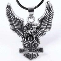 Wholesale Men hanging metal necklace eagle wings attached necklace pendant boutique shop yiren DHL