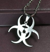 hip hop chain - 2014 New Hip Hop Resident Evil Movie Stainless Steel Leather Chain Pendant Necklace Men Jewelry12pcs