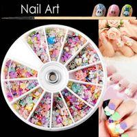 Wholesale 1200Pcs Mixed Color DIY D Rhinestone Flower Bead Nail Art Tips Decoration Wheel M01487