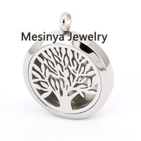 Wholesale 10pcs Round mesinya plain tree of life mm Aromatherapy Essential Oils Stainless Steel Perfume Diffuser Locket Necklace free felt pads