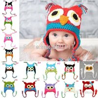 beannie babies - Crochet Owl Hat for Baby Boys girls Ear Flap Toddler infant winter caps Knit beannie with earflap pc H021F