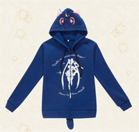 Wholesale Cute Cat Anime - Anime Casual Sailor Moon Hoodie Luna Cats Blue Sweatshirt Coat Cosplay Costume High Quality New Cute