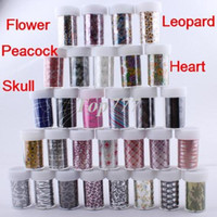 Wholesale 2015 New Design art Nail stickers Rolls x cm Nail Art Tips Wrap Transfer Foil Paper Tip Flower Leopard Peacock Feather Skull
