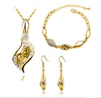 Wholesale Europe and America New Fashion Jewelry K Gold Plated Jewelry Sets For Women Top Quality Austrian Crystal Earrings Bracelet Necklace Sets