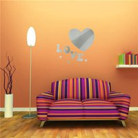 acrylic landscape art - New Arrvial DIY D Modern Love Heart Acrylic Mirror Stickers Wall Decor Home Room Decals Art Excellent Quality
