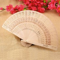 Wholesale Price Retro Hollow Folding Wooden Carved Print Fragrant Hand Fan Gifts Summer Accesory Art