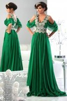Cheap New Arabic Kaftan Appliques Green Evening Prom Dresses Chiffon Arabic Abaya Dubai Long Sexy V-Neck Evening Dresses With Sleeves