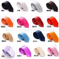 Wholesale 500pcs Men s Tie cm Neckwear Slim Necktie Man Narrow Arrow Necktie men solid color tie Colors Optional