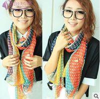Wholesale 4ps fashion new color womens chiffon star print scarf woman cape shawl pashmina scarves soft thin hijab