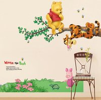 Wholesale Winnie the pooh dolls children bed room wall stick the sitting room the bedroom decorates the kindergarten boys and girls housing