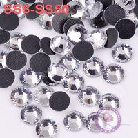 Wholesale High Quality Shine Glass Clear Crystal DMC HotFix FlatBack Rhinestones SS6 SS50 iron on For Crafts Garment Decorative