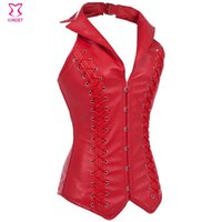 neck corset leather - Steel Boned Corsets And Bustiers Red Leather Corset Bustier Halter neck Gothic Slimming Sexy Corselet Overbust Corpete