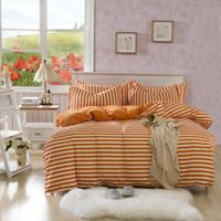Wholesale Bed cotton four piece set muji cotton stripe bedding duvet cover bed sheets high quality
