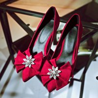 black heel bow - Women Pointy Toe Slip On Shoes Medium Stiletto Heels Suede Leather Bow Knot Rhinestone Flower Pumps Party Shoes black red