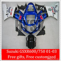 Wholesale Free Gifts For SUZUKI Motorcycle Fairing Kit GSXR600 GSXR750 K1 GSX R600 GSX R750 Blue White ABS Cowling