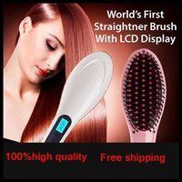 Wholesale 2016 New Professional Magic Hair Straightening Irons Come With LCD Display Electric Straight Hair Comb Straightener Iron Brush