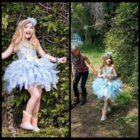 Wholesale Sweety Eden Wood Glitz Flower Girl Dresses For Weddings Tiered Ruffle Light Sky Blue Cupcake Pageant Kids Party Dresses