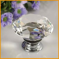 Cheap 30mm Diamond Crystal Glass Alloy Clear Door Drawer Cabinet Wardrobe Pull Handle Knobs Free Shipping Wholesale