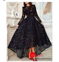 Wholesale Newest Black Arabic Muslim Long Fitted Lace Hi Lo Prom Dresses With Long Sleeve Sheer Evening Modest Vintage Elegant Formal Gowns Hot