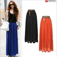 strapless maxi dress - Hot Selling Retro Maxi Skirt Chiffon Elastic Waist Solid Color Long Dress Woman Skirts Colors A625