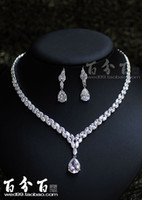 beautiful dinner sets - Hongkong jewelry show beautiful bride jewelry set dinner dress imported zircon necklace set chain accessories