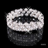 Wholesale Brides Accessories White Pearls For Wedding Elastic Row Bridal Bangle Bracelet In Stock Rhinestone Wristband Jewelry