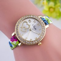accord glass - New fashion women quartz watches according to the Geneva side rhinestone decoration women s clothing with a color printing leather stud