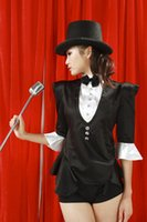 collar bars - Black and white uniforms Bar nightclub magician girlhood female jazz dance costumes dance clothes black tuxedo ds