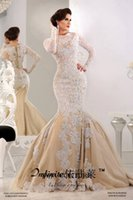 wedding black and white - 2015 Long Sleeves Mermaid Lace Wedding Dresses Bateau with Applique and Beading Bridal Gowns Sweep Train Dubai Dresses Custom Made