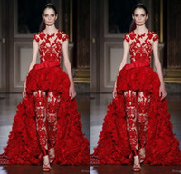 apples suit - Unique Zuhair Murad Evening Dresses Pant Suits with Detachable Over Skirts Ruffles Cap Sleeves Lace Zipper Back Celebrity Prom Gowns Custom