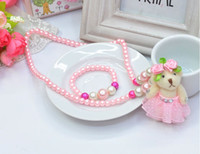 Rhinestone beaded bears - NEW Fashion Kids Children lovely princess Cartoon Bear Charms Necklace Beaded Strand Necklace performance necklace jewelry Set HH40