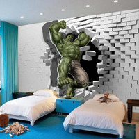 Wholesale 3D Avengers Photo Wallpaper Custom Hulk Wallpaper Unique Design Bricks Wall Mural Art Room Decor Painting Wall art Kid s room Bedroom Home