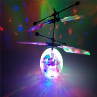 Wholesale Induction Suspension flying Fly Ball RC Helicopter Flash Glowing ball Flash Remote Control Aircraft toys Kids children s toys Gifts