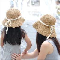 Cheap girls summer hats new Straw Parents and children Sun hat Kids Summer Hat, Big Brim Sunbonnet, children straw hats