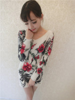 Wholesale Autumn Winter Knitwear Long Fuzzy Knitted Cardigans Flowers Printing Mohair Sweaters Print Pullovers Women