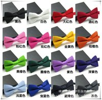 Wholesale 2015 Hot New Arrivals Men Pure Plain Bowtie Polyester Pre Tied Wedding Bow Tie free ship