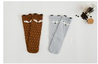 Wholesale Retail girls boys children s knee long socks baby kids cotton high quality backless socks fox cartoon dot unisex socks new