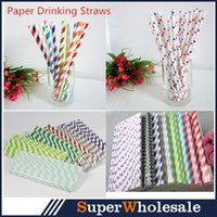 Wholesale Christmas Party Straws Mixed Paper Drinking Straws Polka Dot Striped Birthday Party Wedding Baby Shower