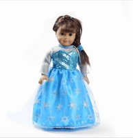 Wholesale Frozen Elas Snowflake Princess Dress Doll dress toy Clothes For quot American Girl Handmade