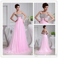 Wholesale Pink Strapless Bridesmaid Dresses with Rhinestones Long Tulle Maid of Honor Gowns for Wedding Party New Fashion A Line Prom Dress