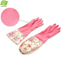 Wholesale Kitchen Gloves Lengthen With Hanger Latex Waterproof Dish Washing Gloves Skid Proof Laundry Gloves dandys