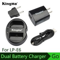 Cheap KingMa Double (Dual) Channel Battery Charger for Canon EOS LP-E6 Battery 5D Mark II III 70D 7D 60D Digital Camera EU US plug