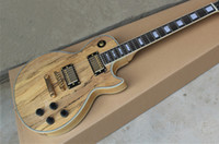 Wholesale New Arrival Double Faced Nice Wood Ripples Custom Nature Color Pickups Electric Guitar Golden Hardware