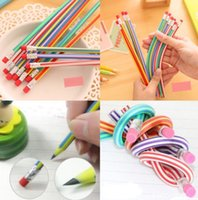 Wholesale 5Pcs Colorful Magic Bendy Flexible Soft Pencil With Eraser For Kids Writing Gift