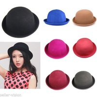 Wholesale Fashion Lady Vogue Vintage Women s Wool Cute Trendy Bowler Derby Hat Fashion